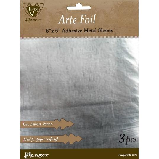 Ranger, Vintaj Arte Foil - Silver 6x6in Adhesive Metal Sheets (1pc) (Dented)
