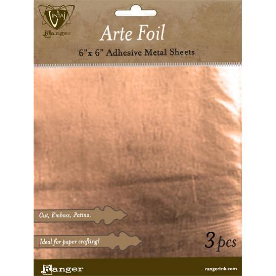 Ranger, Vintaj Arte Foil - Copper 6x6in Adhesive Metal Sheets (3pcs)