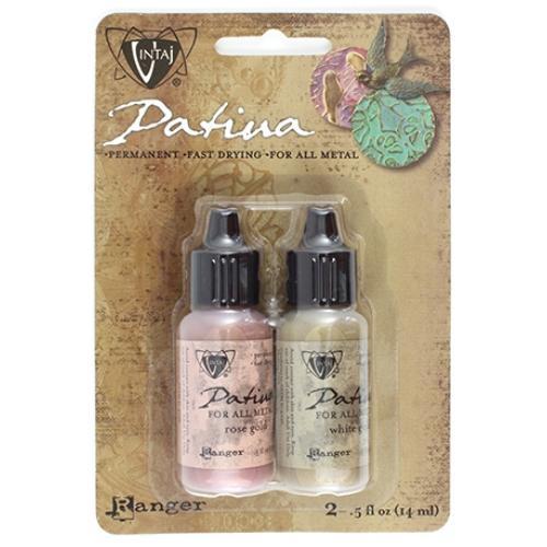 Vintaj Patina Kit Pack, Cherished Adornment Metallics by Ranger x2 0.5oz Bottle Pack