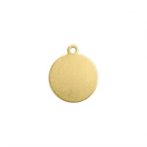 Brass Circle Tag Drop, 10mm 24ga Metal Stamping Blank x1
