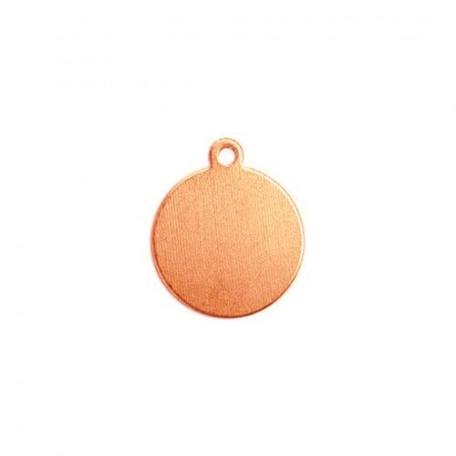 Copper Circle Tag Drop, 12.9mm 1/2 inch 24ga Metal Stamping Blank x1
