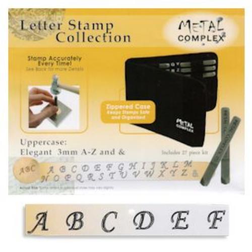 Elegant Alphabet Upper Case Letter 3mm Stamping Set - Metal Complex