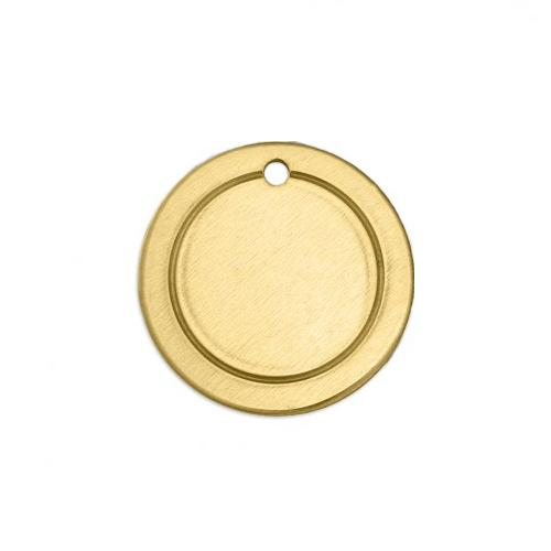 Brass Border Circle (3/4) 19mm 18ga Stamping Blank x1