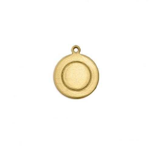 Brass Border Circle w/ring (1/2) 13mm 18ga Stamping Blank x1