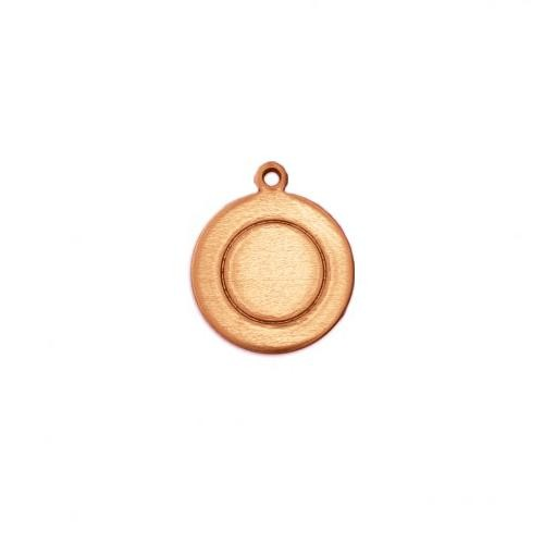 Copper Metal Stamping Blank, Border Circle w/ring (1/2) 13mm 18ga x1
