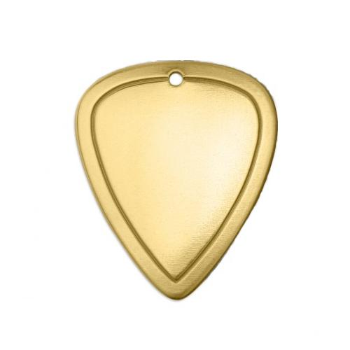 Brass Border Guitar Pick (1 1/2x1) 31x26.4mm 18ga Stamping Blank x1