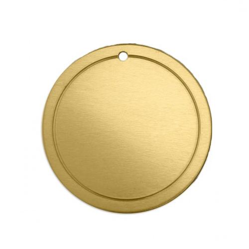 Brass Soft Strike Border Circle (1 1/4) 31.7mm 18ga Stamping Blank x1