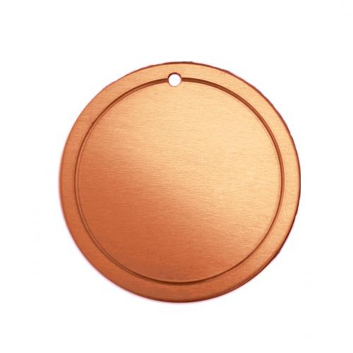 Copper Metal Stamping Blank, Border Circle (1 1/4) 31.7mm 18ga x1