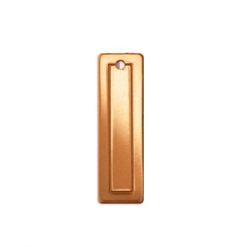 Copper Metal Stamping Blank, Border Rectangle (small) 30.4x9.2mm 18ga x1
