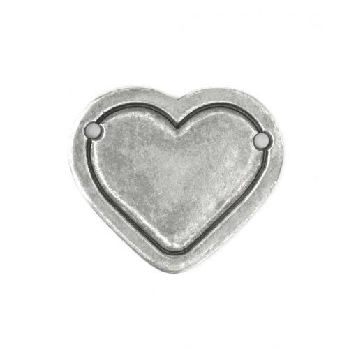 Pewter Soft Strike 29x25mm Large Heart Border Stamping Blank x1