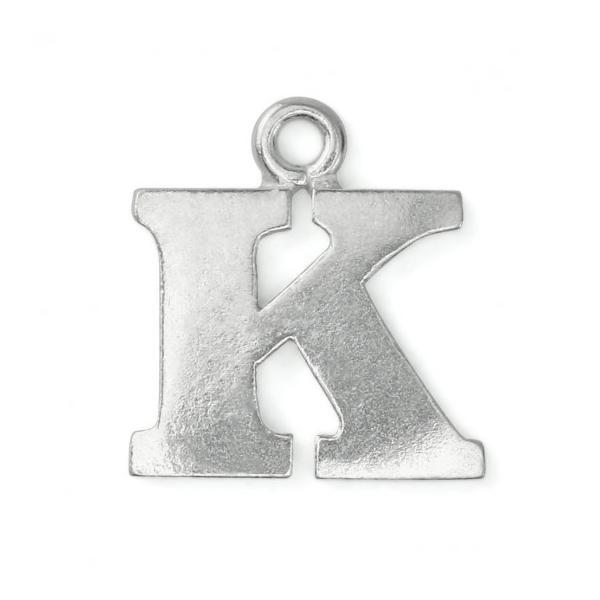 Pewter Soft Strike Alphabet Letter K, 3/4 inch Charm x1