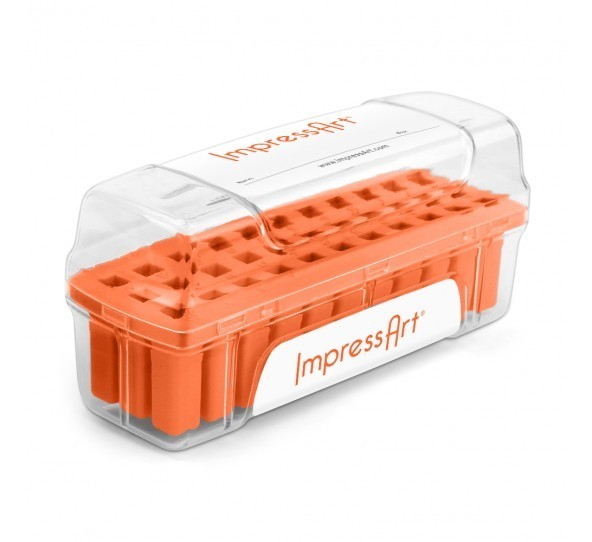 ImpressArt Storage Box Case for 3mm Alphabet Letter Sets - Orange