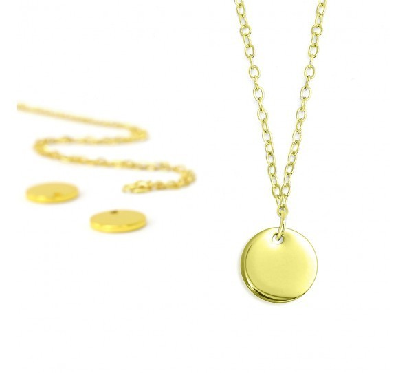 Personal Impressions, Small Circle, 10mm, Gold Plated Necklace Kit x1