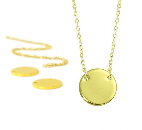 Personal Impressions, Large Circle, 15mm, Gold Plated Necklace Kit x1