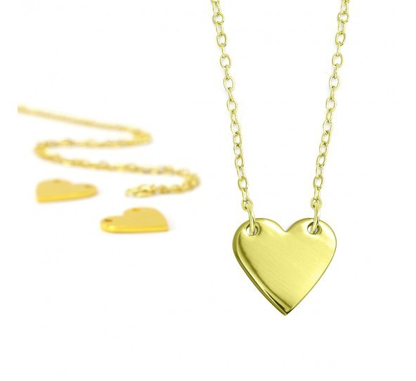 Personal Impressions, Heart, 13x14mm, Gold Plated Necklace Kit x1