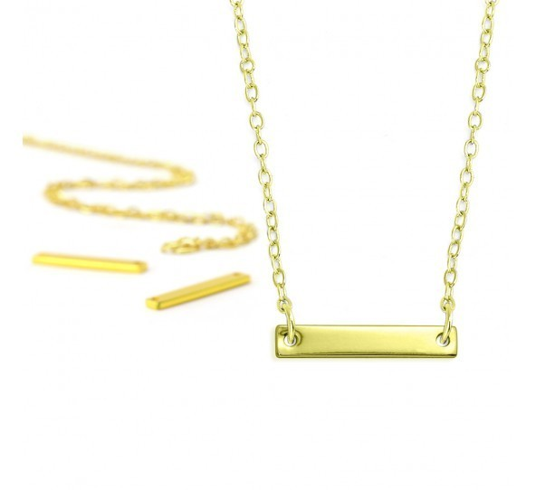 Personal Impressions, Small Rectangle, 3x20mm, Gold Plated Necklace Kit x1