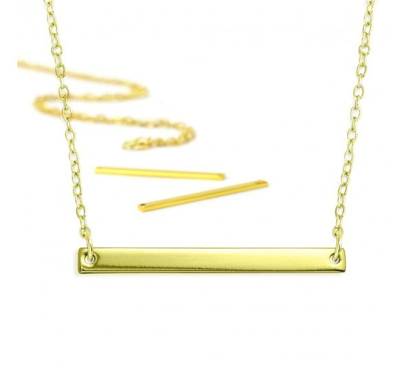 Personal Impressions, Large Rectangle, 3x38mm, Gold Plated Necklace Kit x1