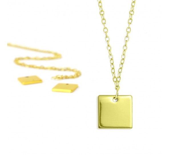 Personal Impressions, Square, 11mm, Gold Plated Necklace Kit x1