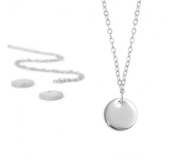 Personal Impressions, Small Circle, 10mm, Silver Plated Necklace Kit x1