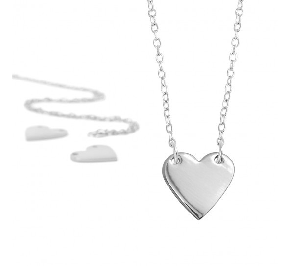 Personal Impressions, Heart, 13x14mm, Silver Plated Necklace Kit x1