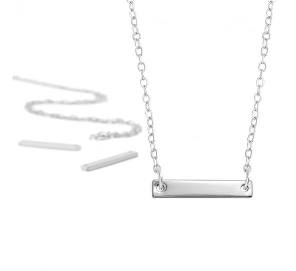 Personal Impressions, Small Rectangle, 3x20mm, Silver Plated Necklace Kit x1