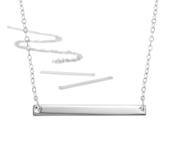 Personal Impressions, Large Rectangle, 3x38mm, Silver Plated Necklace Kit x1