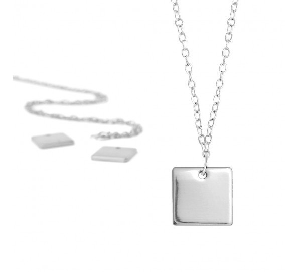 Personal Impressions, Square, 11mm, Silver Plated Necklace Kit x1