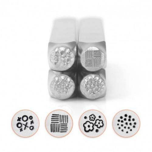 *PRE-ORDER, Special Order* ImpressArt Texture Collection (No.1) 6mm Metal Stamping Design Punches (4pc)