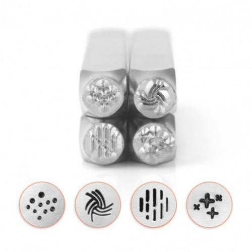 *PRE-ORDER, Special Order* ImpressArt Texture Collection (No.3) 6mm Metal Stamping Design Punches (4pc)