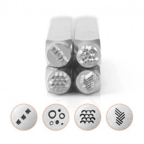 *PRE-ORDER, Special Order* ImpressArt Texture Collection (No.5) 6mm Metal Stamping Design Punches (4pc)