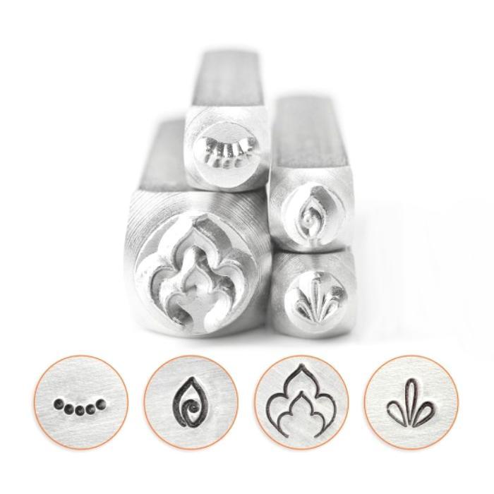 ImpressArt Mandala Henna Collection (9.5mm, 4mm) Metal Stamping Design Punches (Leaf, Petal Line, Curved Dots, Swirl Leaf)