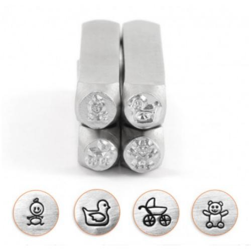 ImpressArt Baby Shower Celebration Collection, 6mm Metal Stamping Design Punches (4pc Baby, Pram, Teddy, Duck)