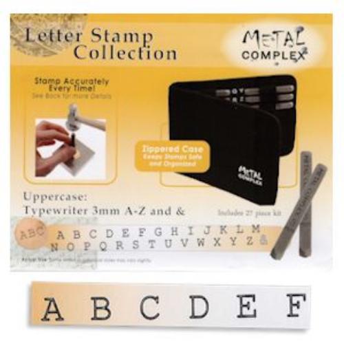 Typewriter Alphabet Upper Case Letter 3mm Stamping Set - Metal Complex