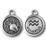 TierraCast Pewter Silver Plated Zodiac Charm, Aquarius
