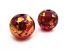 Round Glass Beads 8mm ~ Red & Gold x15