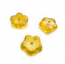 Czech Flat Flower 8x3mm Spacer Beads Lustre Iris Lemon x10