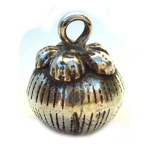 Thai Karen Hill Tribe Silver - 20x16mm Mangosteen Harmony Ball Bell Charm x1