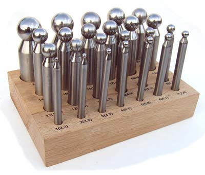 Anodized Dapping Doming Punch Set of 24 in a Wooden Stand, Jewellery Making Tools
