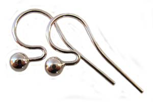 Sterling Silver 21g 4mm Ball End 26x13mm Earring Hooks x1pr