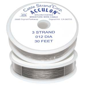 Acculon Nylon Coated Steel Beading Wire ~ Fine .012 30ft / 9.2m