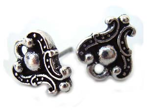 TierraCast Pewter Antique Silver Plated Duchess Earring Posts x1pr