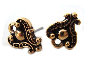 TierraCast Pewter Antique Gold Plated Duchess Earring Posts x1pr