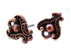 TierraCast Pewter Antique Copper Plated Duchess Earring Posts x1pr