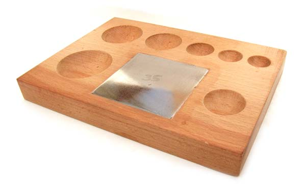 Seven Round Groove Wooden Shaping Block with Steel Insert - Jewellery Tools