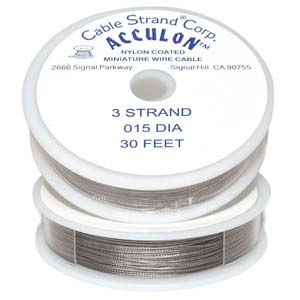 Acculon Nylon Coated Steel Beading Wire ~ Med .015 30ft / 9.2m
