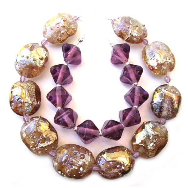 Scarabs of Gold & Amethyst - Ian Williams Artisan Glass Lampwork Beads
