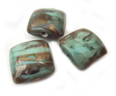 Copper Green Verdigris 19mm Square Cushion - Ian Williams Handmade Artisan Glass Lampwork Beads - x1