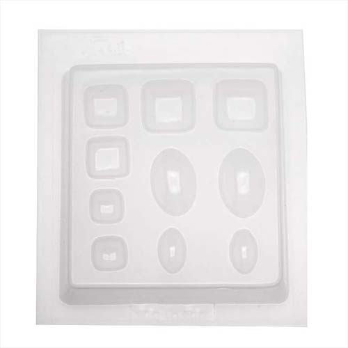 Resin Mould - Squares & Ovals Cabochon (10-on-1) 15mm - 30m