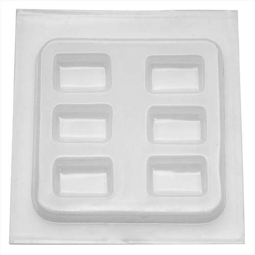 Resin Mould - Rectangle Cabochons (6-on-1) 40 x 28mm