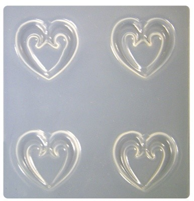 Resin Mould - Scroll Hearts (4-on-1) 28mm